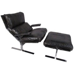Mid-Century Modern Lounge Chair and Ottoman Attributed to Richard Hersberger