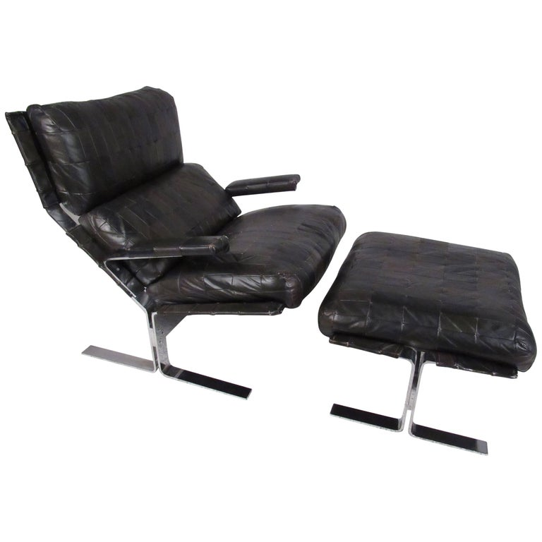 Mid Century Modern Lounge Chair And Ottoman Attributed To Richard Hersberger For
