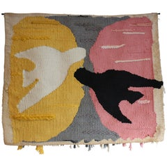1970s Handwoven Tapestry Inspired by Artist Georges Braque