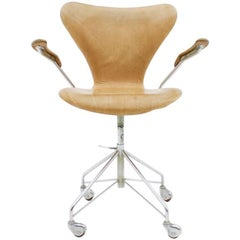Arne Jacobsen Leather Swivel Office Chair 3217 Fritz Hansen, Denmark, 1963