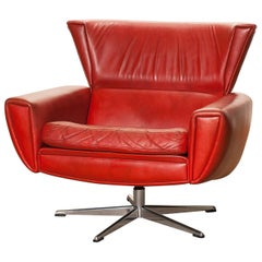1970s, Red Leather Swivel Lounge Club Chair by Georg Thams, Denmark