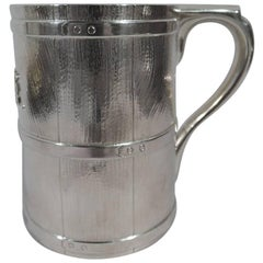 Early Tiffany Sterling Silver Novelty Barrel Tankard Mug