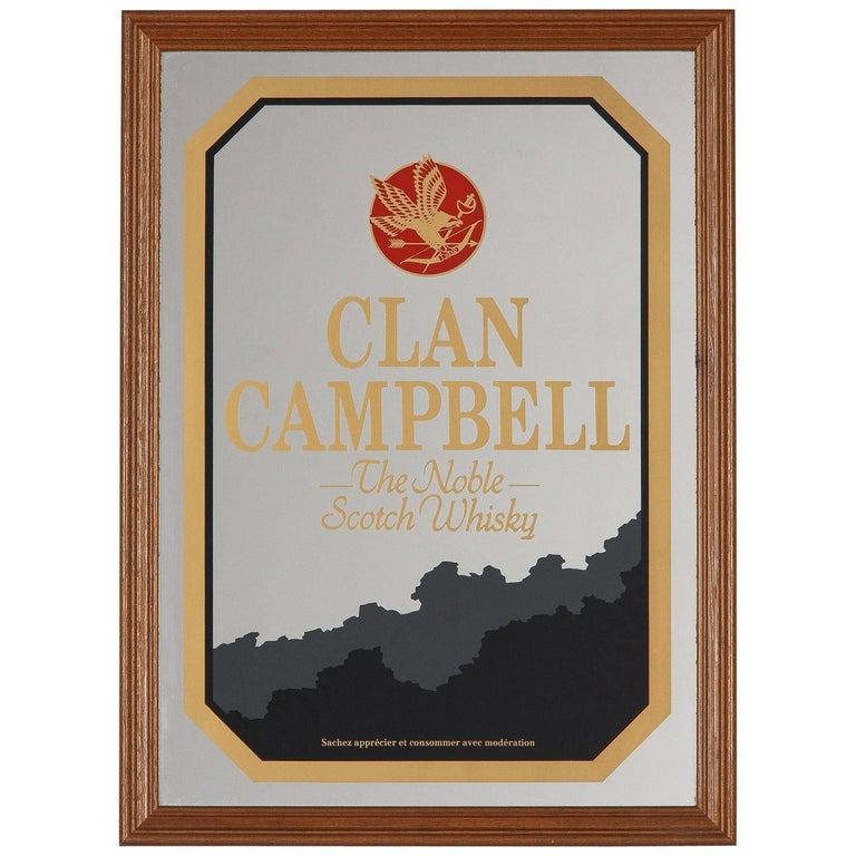 Vintage Frame with Mirrored Advertising Sign for Clan Campbell Scotch, 1980s
