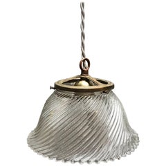 Industrial Swirled Holophane Glass Bell Pendant Light