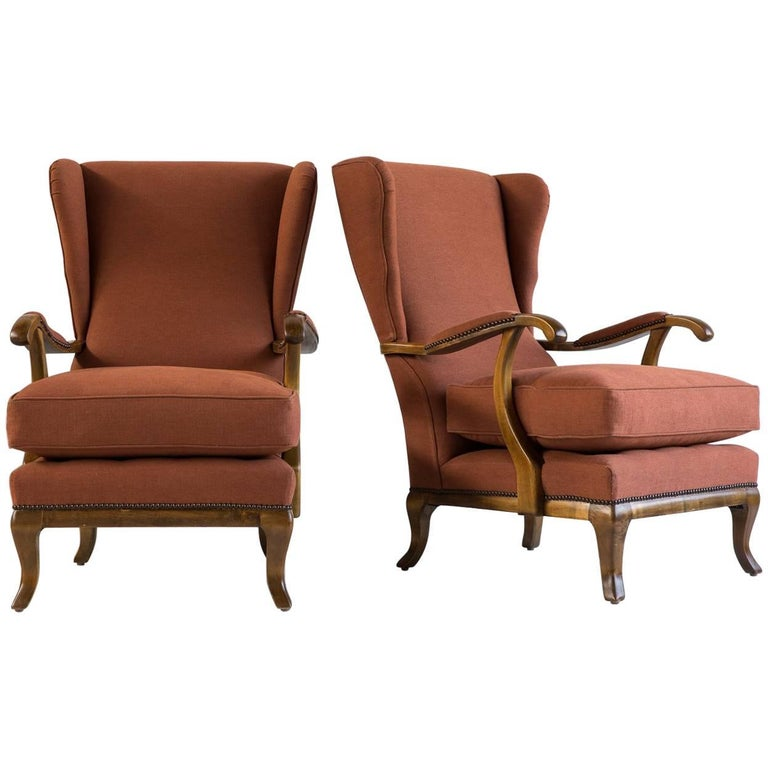 Pair of Vintage Italian Wing Chairs Upholstered in Rust Ripstop Howe Fabric 1