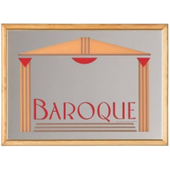 French Vintage Frame with Mirrored Advertising Sign for Baroque