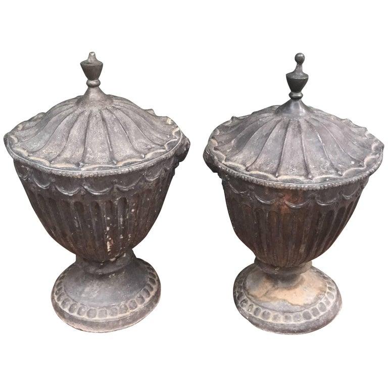 Pair of 19th Century English Lead Urns