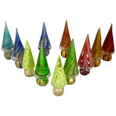 Formia 1980s Italian Vintage Colorful Murano Glass Christmas Tree Sculptures