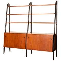 1950s, Beautiful Double Teak Bookcase Roomdivider Cabinet by Bertil Fridhagen