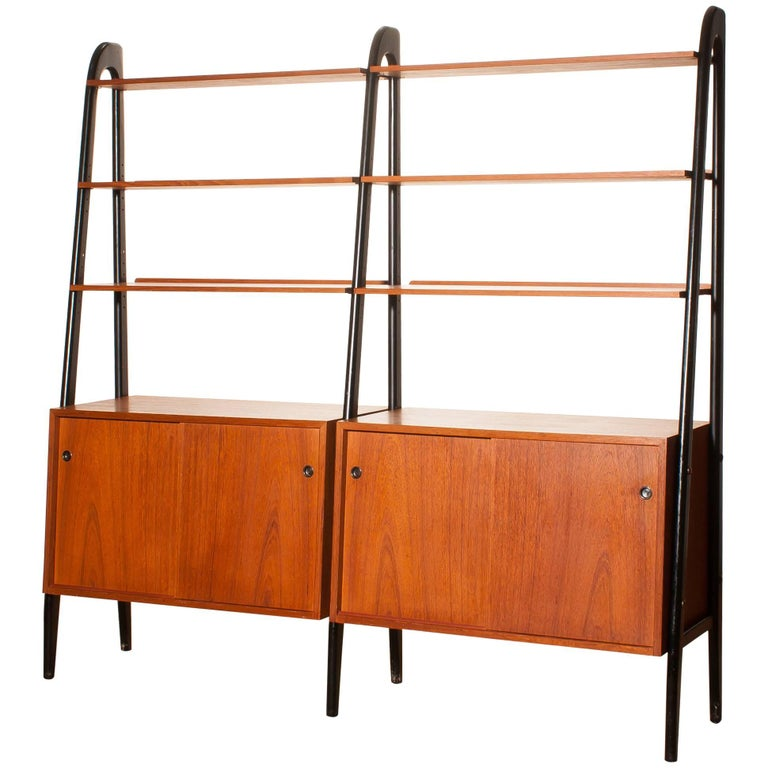 1950s, Beautiful Double Teak Bookcase Roomdivider Cabinet by Bertil Fridhagen 1