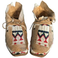 Fine Native American Pair Fully Hand Beaded Moccasins, 19th Century