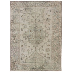 Medallion Vintage Turkish Oushak Rug with Soft Color Palette and Muted Tones