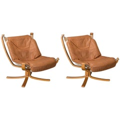 Pair of Low Back Falcon Sling Chairs by Sigurd Ressell for Vatne Mobler, Norway