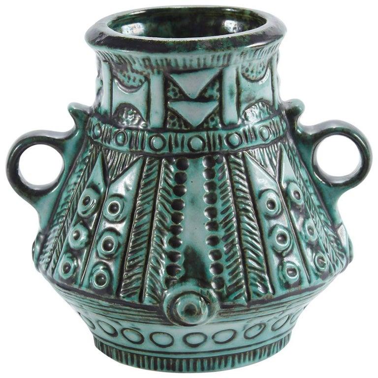 Early 20th Century Italian Green Glaze Vase