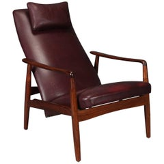 Danish Modern Leather and Rosewood Lounge Chair by Søren Ladefoged for SL Mobler