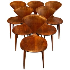 Six Bentwood Walnut Dining Chairs by Norman Cherner for Plycraft, 1950s