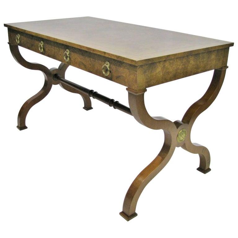 Baker Furniture Regency Style Writing Desk with Burled Walnut Veneer For Sale