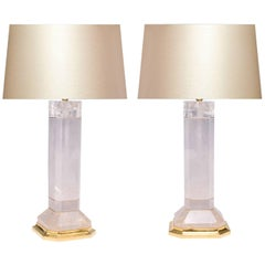Pair of Octagon Column Form Rock Crystal Quartz Lamps