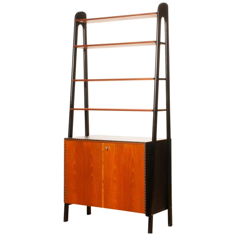 1950s, Teak and Skai Bookcase Secretaire by Bertil Fridhagen for Bodafors 1
