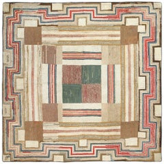 Colorful Antique Square American Hooked Rug