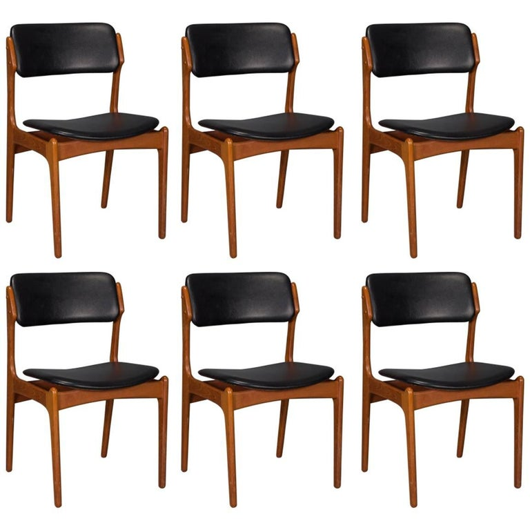 set of six danish teak and leather dining chairs by erik buch for