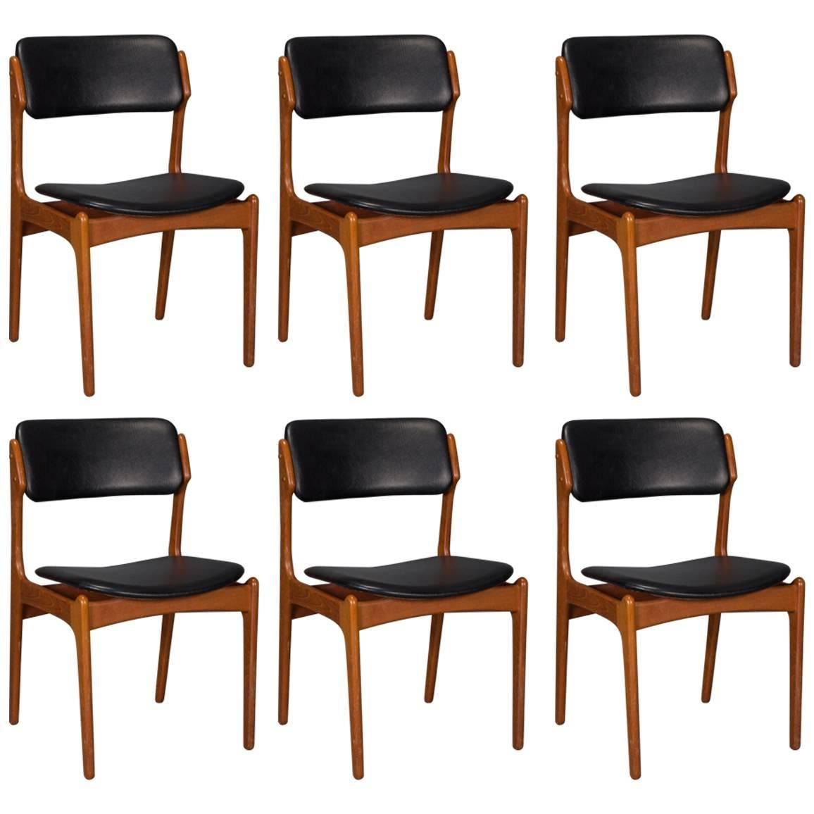 Set Of Six Danish Teak And Leather Dining Chairs By Erik Buch For O.D.  Mobler 1