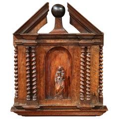 18th Century, French Carved Walnut Wall Panel with Niche, Mother and Child