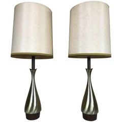 Pair of Modernist Fluted Brass and Wood Tables Lamps by Laurel Lamp Co.