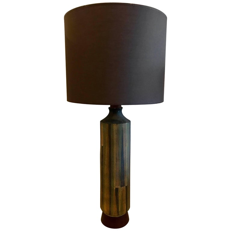 Large Ceramic Table Lamp in the Style of Aldo Londi for Bitossi, Italy, 1960s