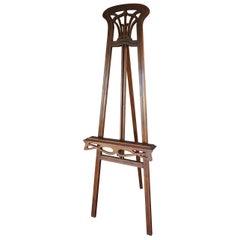 Handcrafted Teakwood Jugendstil / Art Nouveau Floor Easel / Artist Display Stand