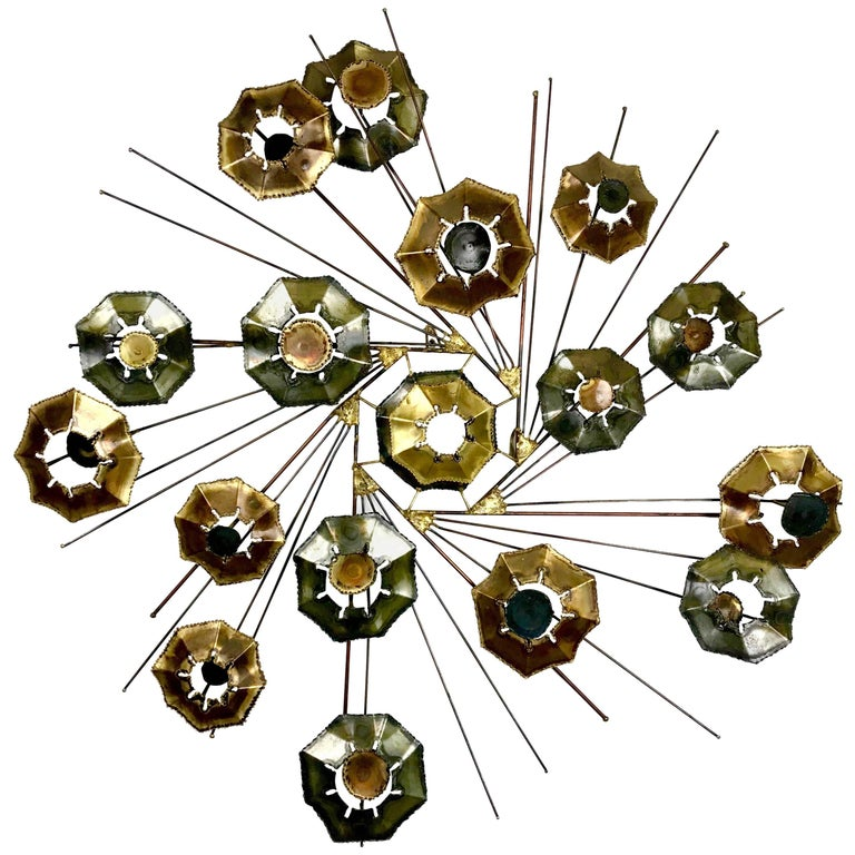 Large Brutalist Mixed Metal Wall Sculpture