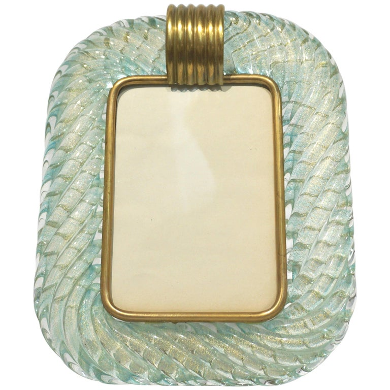 Barovier Toso Vintage Twisted Gold and Aqua Blue Murano Glass Photo Frame, 1970s