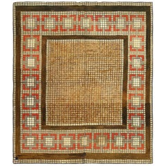 Antique Mosaic Design American Hooked Rug. Size: 7 ft 7 in x 8 ft 8 in