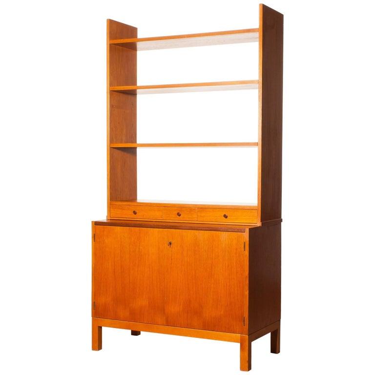 1950s, Teak Secretaire Bookcase Kitchen Cabinet 1