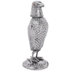 Silvered Metal Bird Decanter or Flask