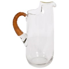 1950s Carl Auböck Glass Pitcher with Cane Wrapped Handle