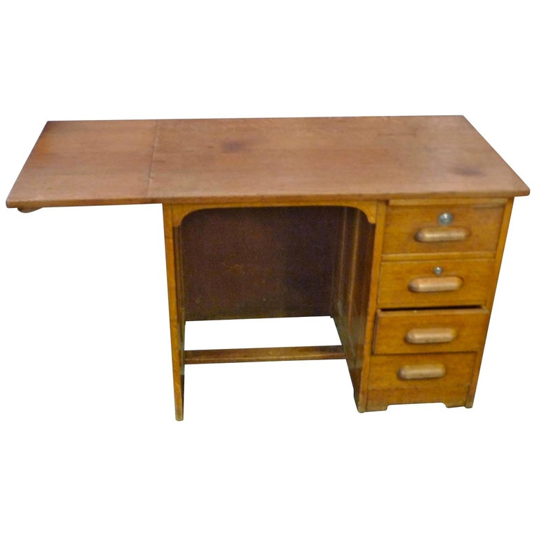 French 1940s School Writing Desk with Extension Flap and Four Drawers.