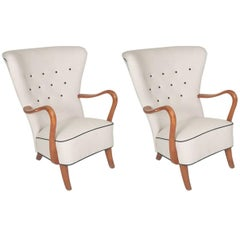 Pair of Danish 1940s Open Armchairs by Alfred Christensen