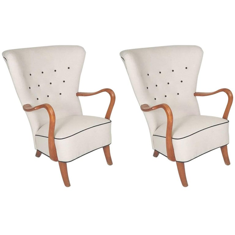 Pair of Danish 1940s Open Armchairs by Alfred Christiansen