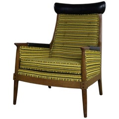 Mid-Century Modern Armchair Green Gold and Black Horizontal Striped Upholstery