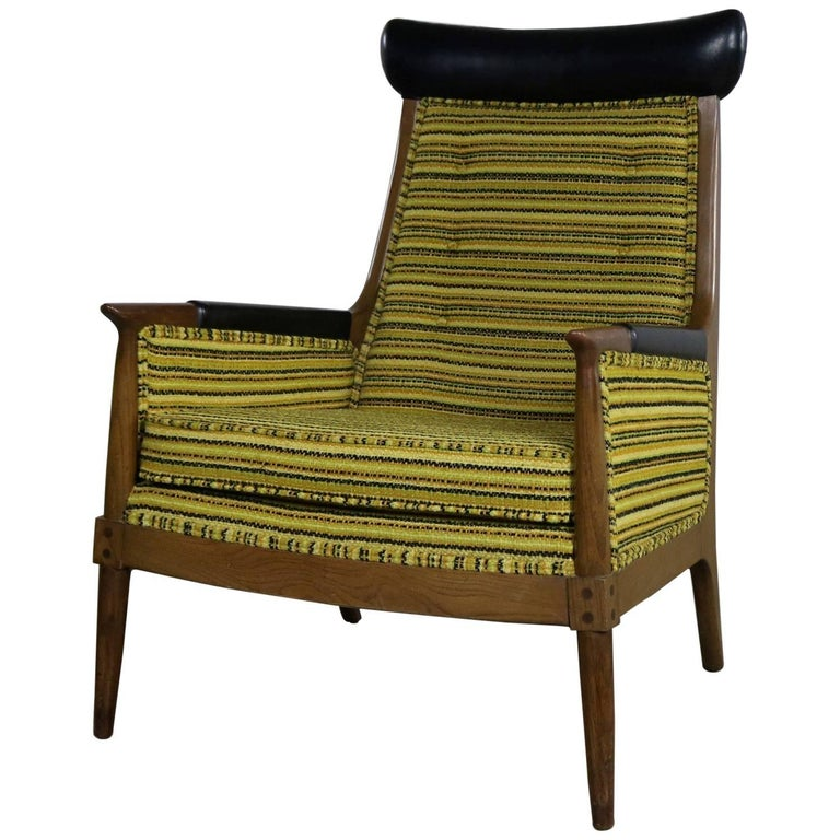 Mid Century Modern Armchair Green Gold And Black Horizontal Striped