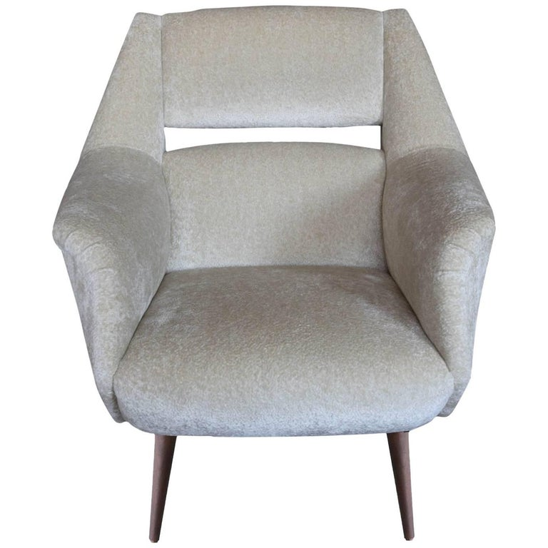 Midcentury Italian Style Sculptural Lounge Chair with Flared Arms