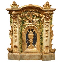 18th Century Italian Giltwood and Polychrome Church Tabernacle Facade with Door