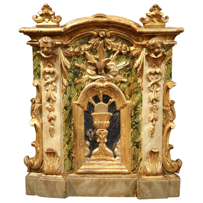 18th Century Italian Giltwood and Polychrome Church Tabernacle Facade with Door For Sale