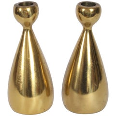 Pair of Ben Siebel for Jenfredware Brass Candlesticks, 1950's