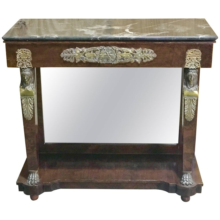 Empire Style Ormolu-Mounted Marble-Top Console