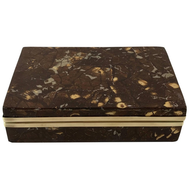 Exotic Brass-Mounted Goatskin Table Box