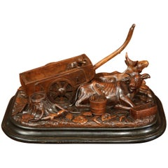 19th Century French Black Forest Carved Walnut Composition with Cows Cart & Dog