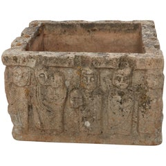 Late 19th-Early 20th Century French Square Carved Stone Planter