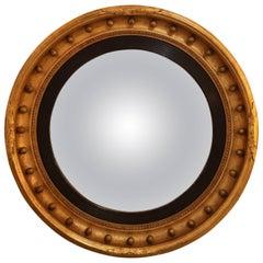 19th Century Giltwood English Regency Convex Wall Mirror